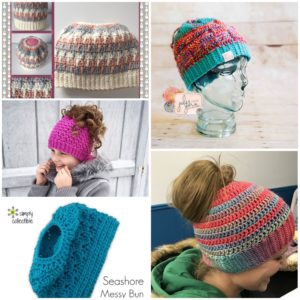 5 crochet messy bun hat patterns